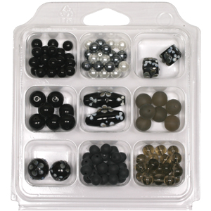 SBX-GB-FL3 Glass bead selection box with flower lamp beads - black