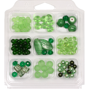 SBX-GB-ST1 Glass bead selection box with striped lamp beads - green