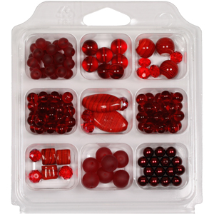 SBX-GB-ST2 Glass bead selection box with striped lamp beads - red