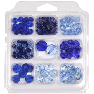 SBX-PB2 Facetted transparent acrylic bead selection box - blues
