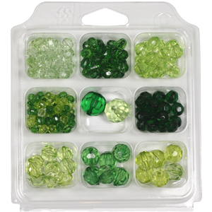 SBX-PB4 Facetted transparent acrylic bead selection box - greens