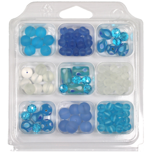 SBX-GB-TD4 Glass bead selection box with teardrop lamp beads - aqua