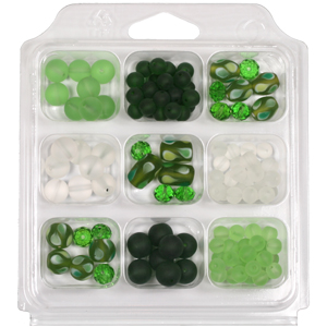 SBX-GB-TD6 Glass bead selection box with teardrop lamp beads - green