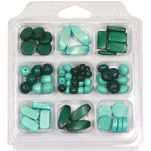 SBX-WB4 Wooden Bead Selection Box - Greens