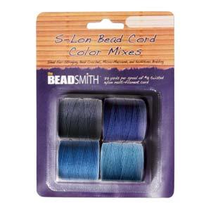 S295-M5 S-Lon Bead Cord - Blues Mix