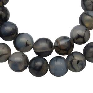 SP-AGDRG06 Natural Agate Beads, Dragon Veins Beads, Round, Gray