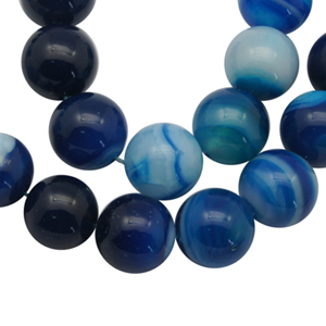 SP-AGSRBL06 natural striped agate beads, round - blue