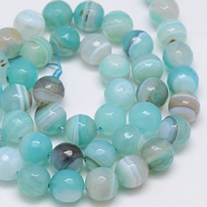 SP-AGSRFBL08 natural striped agate beads, round facetted - blue