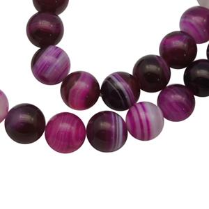 SP-AGSRF06 natural striped agate beads, round - fuchsia
