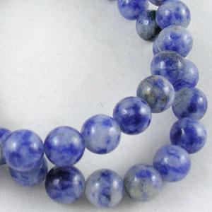SP-BSSR06 natural blue spot stone, round - cornflower blue