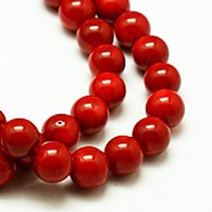 SP-COR04 Coral Beads, round - dark red