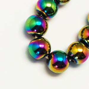 SP-HERM08 hematite beads, grade A - round,  multi-colour plated