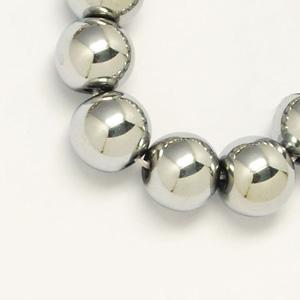 SP-HERS06 hematite beads - round, silver