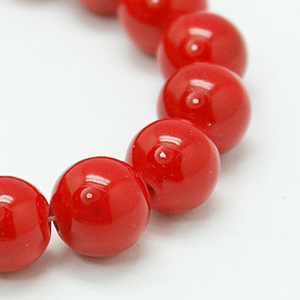 SP-JADR06 mashan jade beads, dyed, round - red