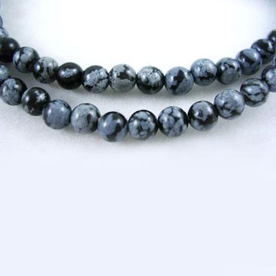SP-SNR04 Snowflake Obsidian Round Beads