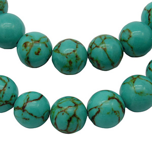 SP-TQR04 Synthetic turquoise round beads, dyed,