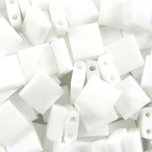 TL 402 Miyuki tila beads - opaque white