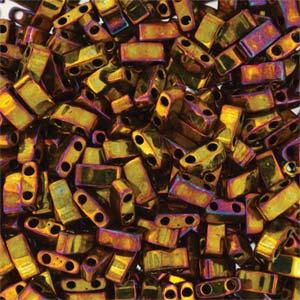 TLH 462 Miyuki half tila beads - metallic gold iris