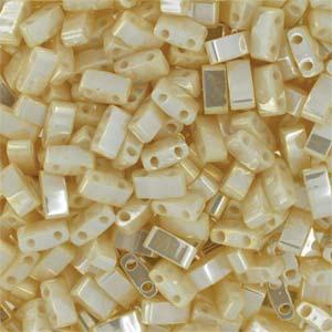 TLH 592 Miyuki half tila beads - antique ivory pearl ceylon