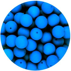 GB10-99 round pressed glass beads - neon blue