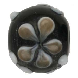 GB279-4 Indian glass lamp bead, round flower - black