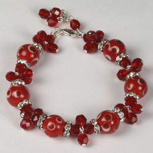 Kit 141B spotted lampbeads & fire-polished bracelet & earrings