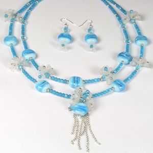 Kit 137 silver foiled lamp bead & flower cluster necklace & earrings