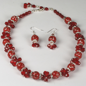 Kit 141A spotted lampbeads & fire-polished necklace & earrings