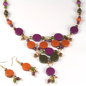 Kit 144 wooden & fire-polished bead necklace & earrings