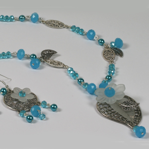 Kit 154 Crystal Rondelle & Filigree Necklace & Earrings