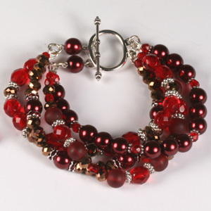kit 171 Kit 171 Multi-strand Pearl Puffy Rondelle & Fire-Polished Bracelet & Earrings