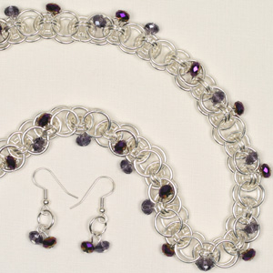 kit 81a Celtic Chain Maille & Crystal Puffy Rondelle Necklace & Earrings