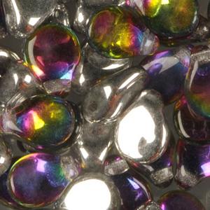 SBPIP-203 Czech pip pressed beads - crystal vitrail medium