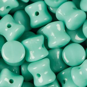 SBPLT-140 Czech pellet pressed beads - opaque green turquoise