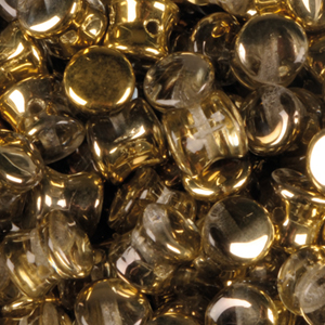 SBPLT-209 Czech pellet pressed beads - crystal amber