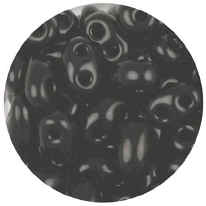 SBT-19 - Czech twin seed beads - black opaque