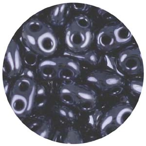 SBT-20 Czech twin seed beads - gun metal