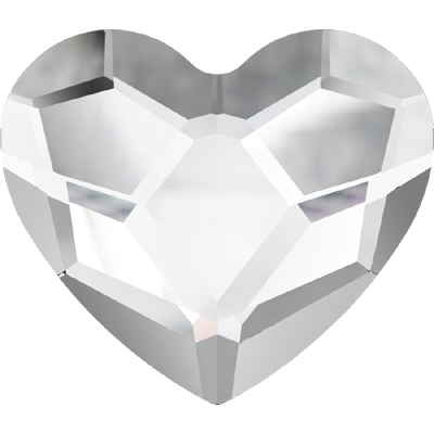 2808 6mm 001 NHF - Swarovski heart flatbacks - crystal