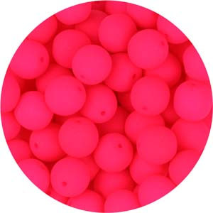 GBSR08-90 - round pressed glass beads - neon pink