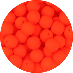 GBSR04-93 - round pressed glass beads - neon tangerine
