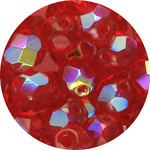 GBFP06 AB-25AB - Czech fire-polished beads - siam ruby AB