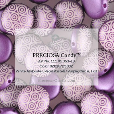 GBCDYLC08-335 - Czech Candy Beads - pastel Bordeaux laser circles
