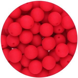 GBSR06-98 - round pressed glass beads - neon red