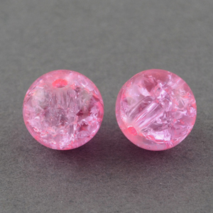 GCB12-3 - glass crackle beads - pink