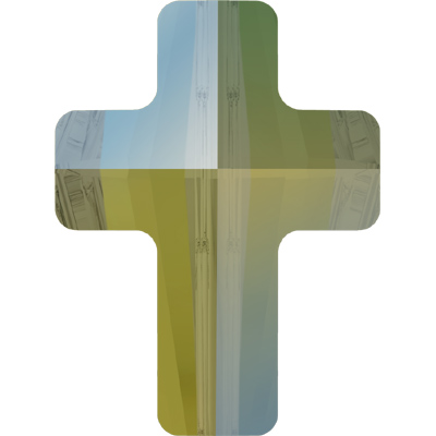 5378 18mm 001 IRIG - Swarovski cross bead - crystal iridescent green