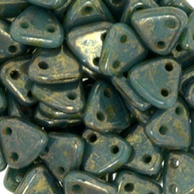 CMTR-189 - CzechMates triangle beads - Persian turquoise bronze picasso