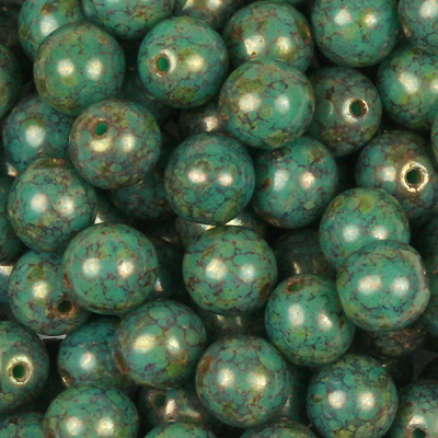GBSR06-188 - Czech round pressed glass beads - Persian turquoise bronze picasso