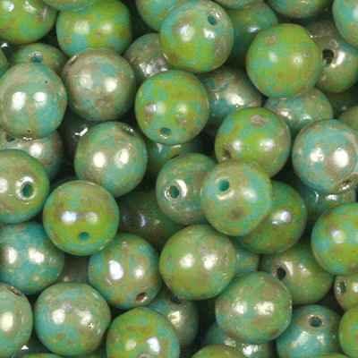 GBSR06-422 - Czech round pressed glass beads - opaque turquoise blue picasso