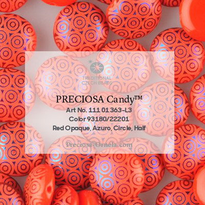 GBCDYLC08-468 - Czech Candy Beads - opaque red azuro laser circles
