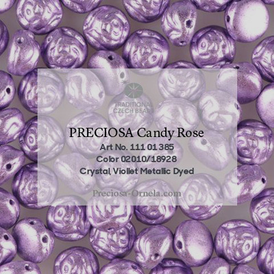 GBCDYR08-162 - Czech Candy Rose Beads - violet metallic, dyed